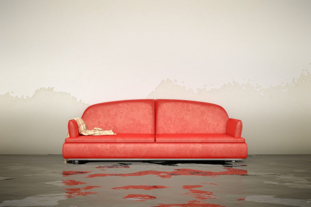 water damaged room red couch